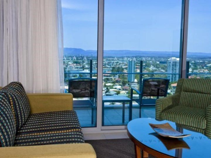Wyndham Surfers Paradise Resort - Living Area & Balcony View